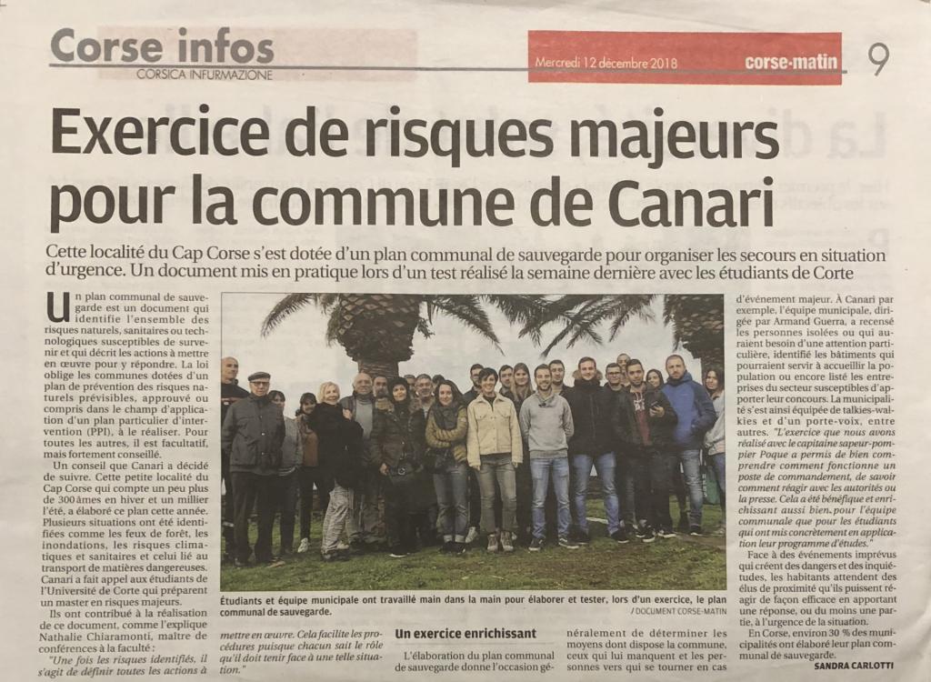 Article paru dans le Corse-Matin le 12 décembre 2018